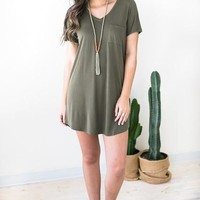 Bare Necessities T Shirt Dress - Olive