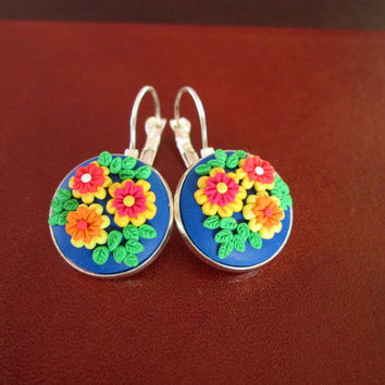 polymer clay earrings,floral earrings,ready to ship jewelry,vintage inspired jewelry,anniversary gift for wife,wearable art jewelry,cameo