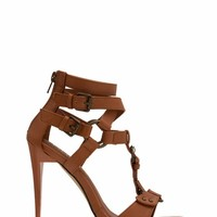 Ruggedly Chic Faux Leather Heels