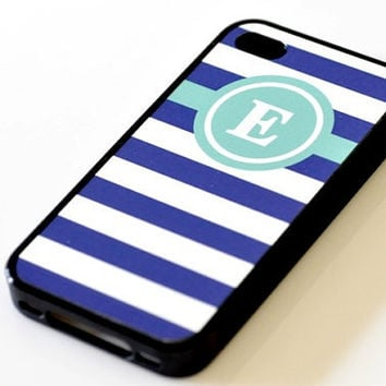 Nautical Monogram iPhone Case - Light Green & Navy Stripes