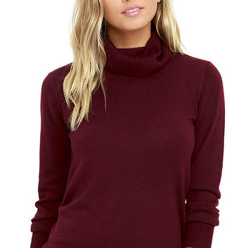 Comin' Up Cozy Burgundy Turtleneck Sweater