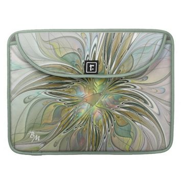 Floral Fantasy, Abstract Fractal Art Monogram Sleeves For MacBooks