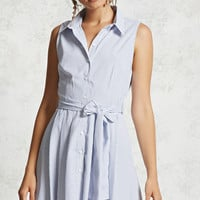 Belted Pinstripe Shirt Dress