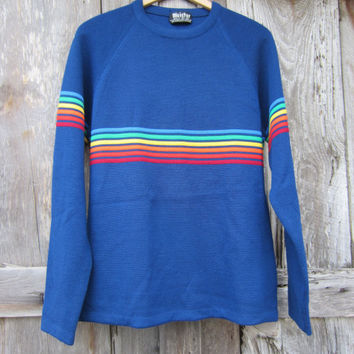 70s Blue Wool Ski Sweater by Meister, Men's M-L // Vintage Rainbow Striped Knit Sweater // Winter Jumper