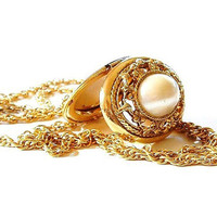Vintage Gold Locket Necklace Oval Pearl Cabochon 1928 Brand