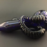 Cobalt Glass with Large Carved Horns and Switchback Tobacco Spoon Pipe