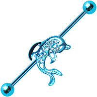 Aqua Titanium Paved Dolphin Industrial Barbell | Body Candy Body Jewelry