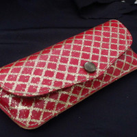 Vintage 50s Red Vinyl Eyeglass Case with Gold Glitter - Rockabilly