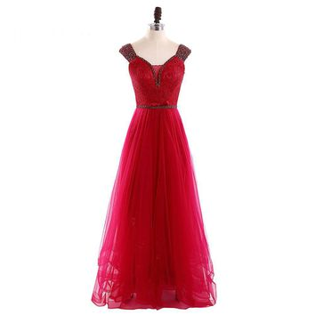 Luxury Evening Dress Tulle Scoop Cap Sleeve Beading Long Evening Dresses Floor Length Formal Party Gowns