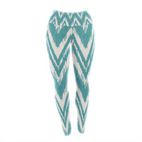"Heidi Jennings ""Tribal Chevron Aqua"" Yoga Leggings"