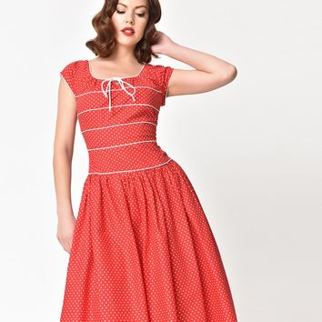 Unique Vintage 1940s Style Red & White Polka Dot Jeanie Swing Dress