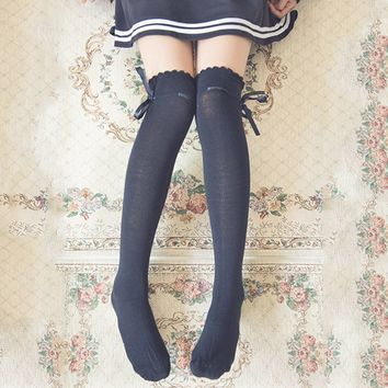 Women girl cute lovely kawaii Ribbon Bow Boot Socks Thigh-High Over Knee Thigh High Long Socks