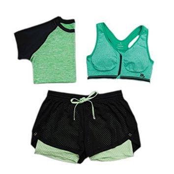 Women's 3 Piece Activewear Set Gym Outfit Workout Gear
