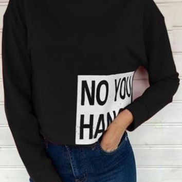 Black Monogram Print Band Collar Crop Fashion Pullover Sweatshirt