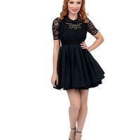 Black Lace Short Sleeve Fit N Flare Dress