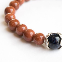 GOLDSTONE BRACELET GLITTER  Glass aventurine glass Bracelet 10mm beads Women Bracelet Gold Sand Stone