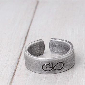 Custom Infinity Ring, Long Distance Relationship Ring, Personalized Ring, Lover Ring, Heart Infinity, Handstamped Jewelry, Personal Jewelry
