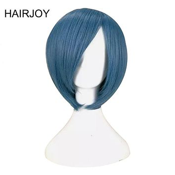 HAIRJOY Blue Red Cosplay Wig Short Synthetic Straight Hair Free Shipping
