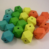 20 Colorful Wood Cube Beads Sampler.. on Luulla