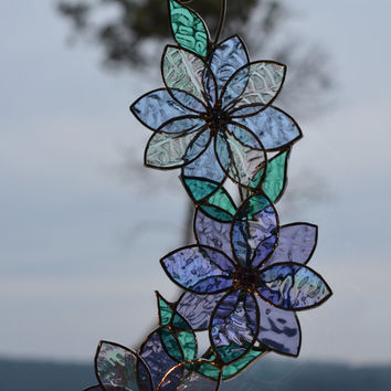 Stained Glass Suncatcher, Rhinestone Flower Centres, Blown Glass Hand Painted Hummingbird, Blue Mauve Iridescent Home Decor Window Ornament