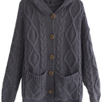ROMWE | Hooded Pocketed Cable Knit Deep Grey Cardigan, The Latest Street Fashion