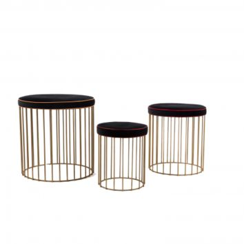 BRASS CAGE STOOLS - SET OF 3