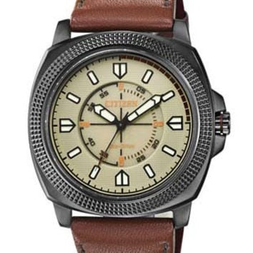 Citizen CTO Soft Touch Leather Strap Date Watch - Black Case - Tan Dial