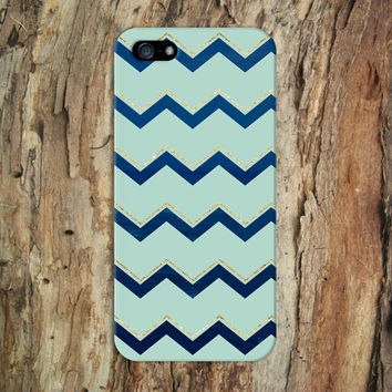 Blue Wave x Gold Chevron x Mint Design Phone Case for iPhone 6 6 Plus iPhone 5 5s 5c iPhone 4 4s Samsung Galaxy s5 s4 & s3 and Note 4 3 2