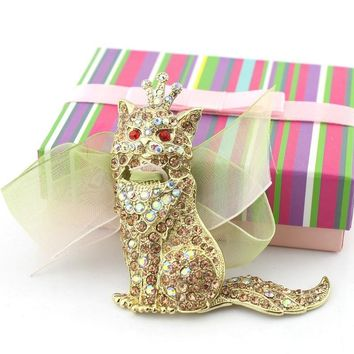 Ornaments industry 2016 new gem cat brooch female models lace corsage special value jewelry hot selling factory direct DV