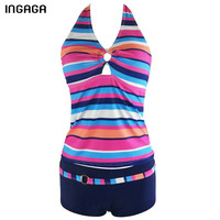 INGAGA 2017 New Tankini Striped Swimwear Women Sexy Two Pieces Swimsuit Halter Summer Beach Bathing Suits