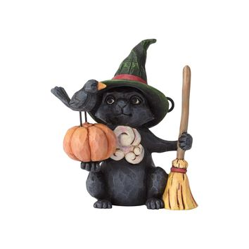 Jim Shore Halloween Mini Witch Cat with Pumpkin Resin Figurine New with Box