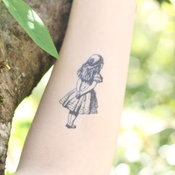 Alice in Wonderland Illustration Temporary Tattoo