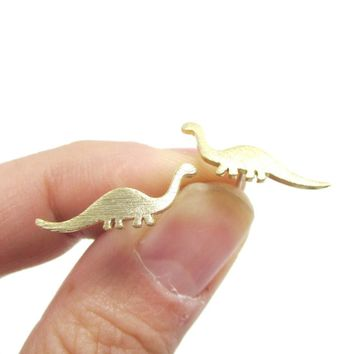 Apatosaurus Dinosaur Silhouette Prehistoric Animal Themed Stud Earrings in Gold