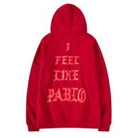 Fear of god hoodie Men Red streetwear pabio I Feel Like Pablo oversized men's long sleeve Hiphop  Kanye West sweat Felpa Uomo