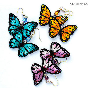 Butterfly Earrings , Blue Yellow or Purple,, dangle 2- sided Jewelry
