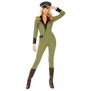 Sexy Stranger Things USA Army Collared Fringed Jumpsuit