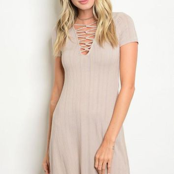 Women's Taupe Stretch Lace Up Dress Tunic Body Con Stretch Slim Casual Spring