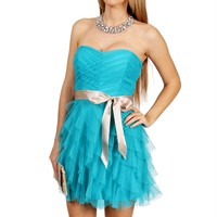 SALE-OceanChampagne Cascade Prom Dress