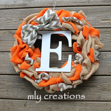 Chevron Wreath, Chevron burlap initial wreath,door wreath, burlap wreath, home decor, christmas gift for her, personalized gift, fall wreath