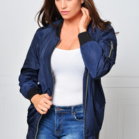 My New Favorite Navy Blue Bomber Jacket