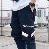 Champion 2019 new embroidered logo buckle overalls thin section casual sports trousers