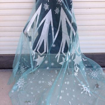 Frozen Fabric Queen Elsa Mixed Snowflake Aurora Borealis Blue Organza Disney Panel Fabric with Several Snowflakes Cape Piece