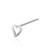 925 Silver Bendable 3mm Hollow Heart Nose Bone | Body Candy Body Jewelry