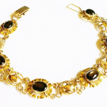 14k Gold Bracelet, Smokey Topaz Stones, Fancy Gold Filigree, Gold Leaves, Scalloped Oval Links, Vintage European Jewelry, Signed MG 585