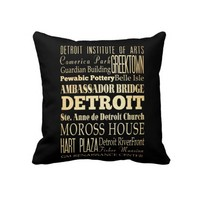 Detriot City of Michigan State Typography Art Pillows
