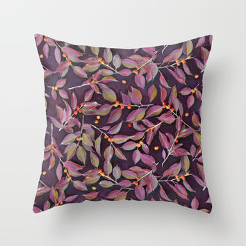 Leaves + Berries in Olive, Plum & Burnt Orange Throw Pillow by Micklyn
