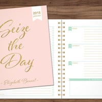 2015 planner custom planner student planner HORIZONTAL LAYOUT weekly monthly calendar agenda daytimer / pink gold glitter seize the day