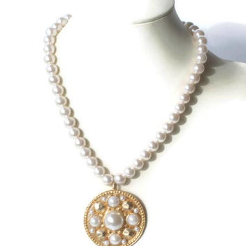 Long Faux Pearl Necklace with Chunky Medallion Pendant 36 Inch Necklace