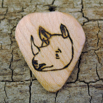 ONE ENGRAVED Wooden Guitar Pick - Rhino Design or Other Designs Available