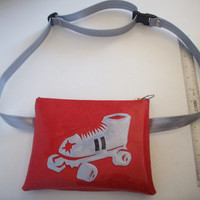 Derby Bag/ Fanny Pack red metalflake with platinum roller derby skate and adjustable platinum belt